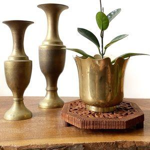 Vintage Brass Flower Shaped Bowl Decor